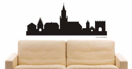 WANDTATTOO e844 Skyline Stadt - Neubrandenburg (Deutschland) Design 1 - 60x26 cm - schwarz