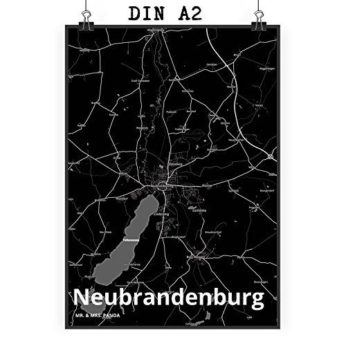 Mr. & Mrs. Panda Poster DIN A2 Stadt Neubrandenburg Stadt Black - Stadt Dorf Karte Landkarte Map Stadtplan Poster, Wandposter, Bild, Wanddeko, Wand, Fan, Fanartikel, Souvenir, Andenken, Fanclub, Stadt, Mitbringsel