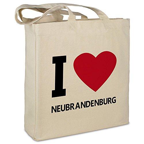 """Stofftasche mit Stadt/Ort """"Neubrandenburg """" - Motiv I Love - Farbe beige - Stoffbeutel, Jutebeutel, Einkaufstasche, Beutel"""