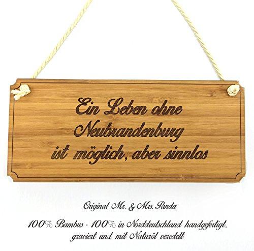 Mr. & Mrs. Panda Türschild Stadt Neubrandenburg Classic Schild - Gravur,Graviert Türschild,Tür Schild,Schild, Fan, Fanartikel, Souvenir, Andenken, Fanclub, Stadt, Mitbringsel