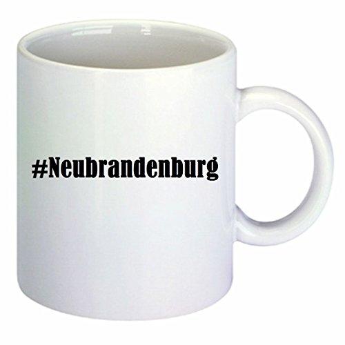 Kaffeetasse #Neubrandenburg Hashtag Raute Keramik Höhe 9,5cm ? 8cm in Weiß