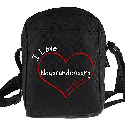 Umhängetasche Modern I Love Neubrandenburg schwarz