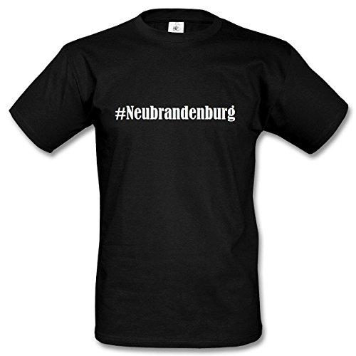 T-Shirt #Neubrandenburg Hashtag Raute für Damen Herren und Kinder ... in den Farben Schwarz und Weiss