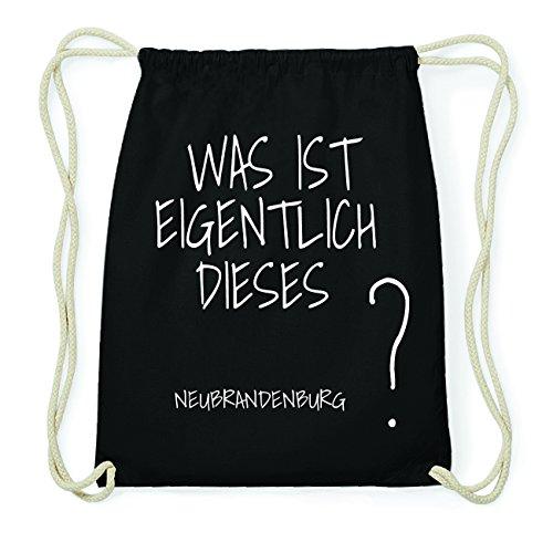 JOllify NEUBRANDENBURG Hipster Turnbeutel Tasche Rucksack aus Baumwolle - Farbe: schwarz - Design: Was ist eigentlich - Farbe: schwarz